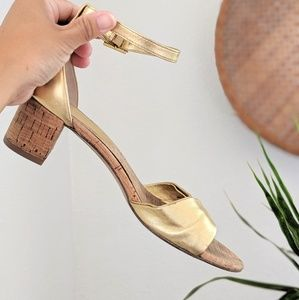 DVF Beautiful Gold Sandals with Cork Heel